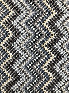 STAIR OR HALL CARPET RUNNER Zig Zag Grey Black White made to measure any size