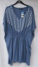 LADIES MARKS AND SPENCER CHAMBRAY BEACHWEAR DRESS WITH EMBROIDERED DETAIL MED