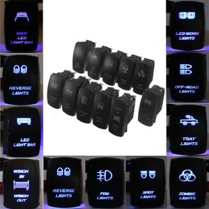 Blue Laser Rocker Switch Toggle OFF/ON LED Light 12V-24V Work Dash   *- // //