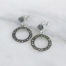 """Sterling Silver 925 Marcasite Vintage Style Round Circle """"O"""" Drop Stud Earrings"""