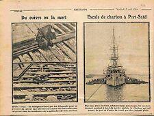 Cuivre Cruiser Kaiserliche Marine/Royal Navy cargo Coal Port Said WWI 1915