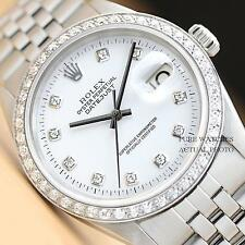 MENS ROLEX SILVER DIAMOND DIAL & BEZEL DATEJUST 18K WHITE GOLD/SS WATCH