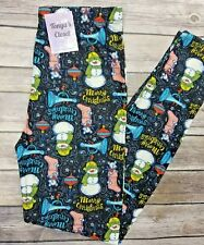 PLUS Size Merry Christmas Leggings Snowman Stockings Ornaments Holiday Printed