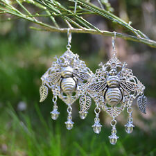 Silver bee dangle earrings nature garden elven bumblebee woodland witch wicca