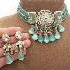 Pakistani Bollywood Indian Kundan Choker Necklace Bridal Wedding CZ Jewelry Sets