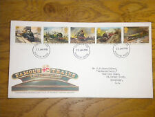 January 1985 First Day Cover: Famous Trains; Good Condition