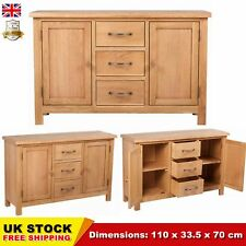 Oak Large Sideboard with 3 Drawers 110x33.5x70 cm Cupboard Cabinet Stylish SALE