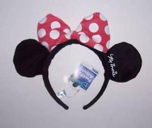 NWT Disney Minnie Mouse Headband with ears & pink bow Costume Halloween dress up