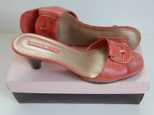 NEW BOX Bandolino Bdryland Pink / Red  Peep Toe Slides Faux Snake Skin Size 7 M,