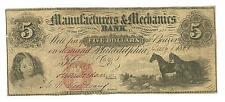 1861 The Manufacturers And Mechanics City Bank Of Philadelphia Five Dollar Note