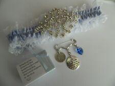 WEDDING GARTER  BLUE  & SOMETHING BLUE BRIDAL PIN -KEEPSAKE BOXED