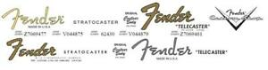 2 Fender Stratocaster 2 Fender Telecaster Headstock Decals + 1 CS Decal - 4 sets