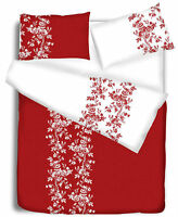 Red Duvet Cover with Pillow Case Quilt Cover Bedding Set All Sizes Etched Floral
