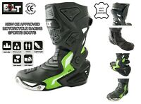NEW CE APPROVED MOTORCYCLE MOTORBIKE RACING BOOTS WATERPROOF LEATHER SHOES GREEN