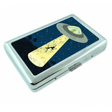 Vintage Alien Abduction D10 Silver Metal Cigarette Case RFID Protection Wallet