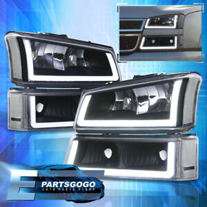 For 03-07 Silverado LED DRL Black Housing Headlights + Signals Lamps Assembly