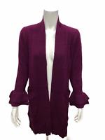Isaac Mizrahi 2-Ply Cashmere V-Neck Ruffle Peplum Sweater Vivid Plum XX-Small Sz
