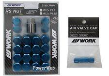 WORK Lug Lock nuts set for 5H 12x1.5 and 4pcs Air Valve caps Blue Value set
