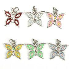 Enamel Butterfly Charms - Set Of 6 - New - UK Seller - For Crafts, Jewellery etc
