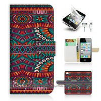 ( For iPhone 5 / 5S / SE ) Wallet Case Cover! Aztec Tribal Pattern P1433