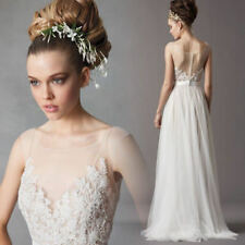 Illusion Neckline Tulle Beach Wedding Dress lace See Through Back Bridal Gowns