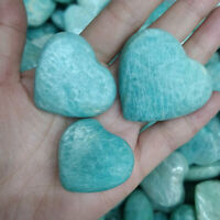 2.2LB Natural Amazonite Quartz Heart Palm Stone Reiki Healing Bulk Wholesale