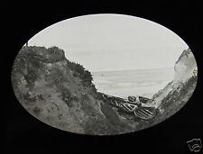 Glass Magic Lantern Slide FISHING BOATS IN A COVE C1900 PROBABLY A DEVON BEACH
