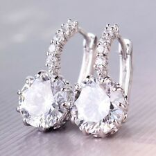 Made with Swarovski Elements White Gold Plated Crystal Gemstone Drop Earrings