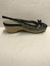 Me Too Women's Shoes  Janice Black Snake Skin Wedges Shoes Size 8