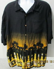 George Hawaiian Style Shirt 3XL, Multiple Beer Bottles with Pocket, Black S/S