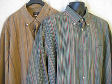 Paul & Shark Mens XL Shirts Striped Earth Tones Italy Cotton 46 Lot 2