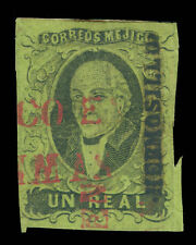 MEXICO 1861  HIDALGO  1 green  - HERMOSILLO - district ovpt.  Scott # 7 used VF