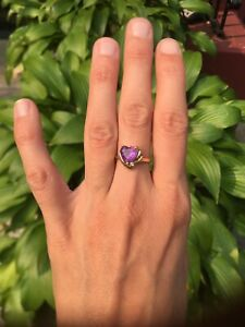 14k gold Amethyst heart ring with diamond accent