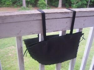"""2 Piece Black Leather Saddle Bags for Motorcycle Dirt Bike or Horse 15"""" x 9"""""""