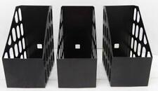 Set Of 3 Black Plastic Eldon Jumbo Magazine File Organizer Holders