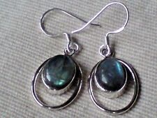 STERLING SILVER 20mm. HOOP EARRINGS with LABRADORITE CABOCHON STONES £16.95 NWT