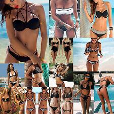 Gr. 36-42/S-XL Sexy Damen Push Up Bandeau Bikini Set Bademode Badeanzug FS