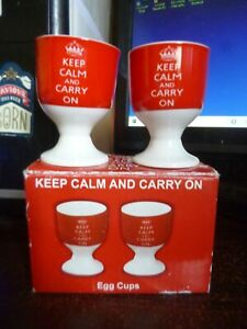 """Pair of Ceramic """"Keep Calm and Carry On"""" Egg Cups"""