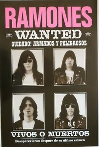 "RAMONES ""WANTED"" U.K. COMMERCIAL POSTER FROM EARLY 2000's - 4 Head Shots Of Band"