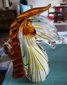 1950'S MID CENTURY ARCHIMEDE SEGUSO MURANO HAND BLOWN CASED GLASS HORSE BUST