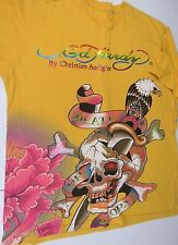 ED HARDY Graphic Short Sleeve T-Shirt Yellow Foil Letters Men's Size 2X XXL