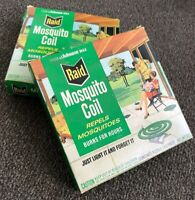 Vintage Raid Mosquito Coils, 1970's  NIB!  Unused in Cool MCM Graphics Box!