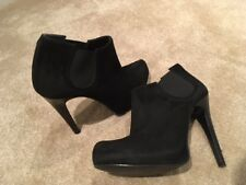DUNE BLACK SUEDE SHOE BOOT BLACK GLOSSY STILETTO HEEL PULL ON  SIZE 37 £23.99