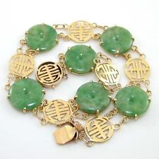 """Solid 14K Yellow Gold Bracelet Carved Green Jade Asian Writing 7.75"""" ZQ2"""