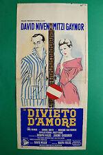 L09 LOCANDINA DIVIETO D'AMORE DAVID NIVEN MITZI GAYNOR CARL REINER LORING SMITH