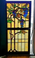 ANTIQUE ARTS AND CRAFTS DOUBLE HUNG STAINED GLASS WINDOW 30 X 64