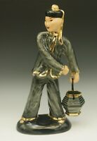 "HEIDI SCHOOP CALIFORNIA POTTERY ART DECO CHINESE MAN WITH BUCKET FIGURINE 13"""