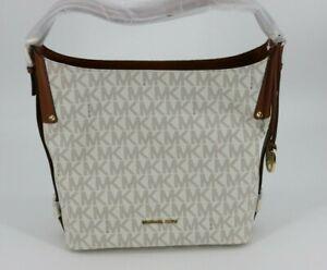 Michael Kors Bedford Belted Large Hobo Bag Purse MK Logo Vanilla White PVC