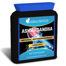 HerbalBioTech Ashwagandha Stress Relief Anxiety Fatigue Anti Depressant Capsules