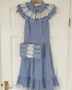 Ted Baker KIKKII Bib Lace Applique Midi Skater Dress With Clutch Bag Size 0 Uk 6